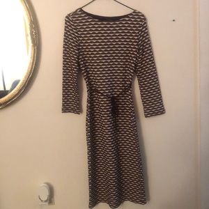 Brown and beige dress. Great for casual outings.